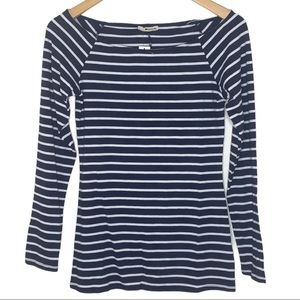 LAmade Navy Blue Striped Long Sleeve Boat Neck Top